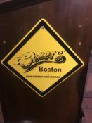 Cheers Boston Yellow Diamond Metal Sign