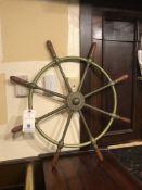 "Brass Ship Captains Steering Wheel Engraved ""Brown Brothers & Co Ltd. Rosebank Ironworks Edinburgh"