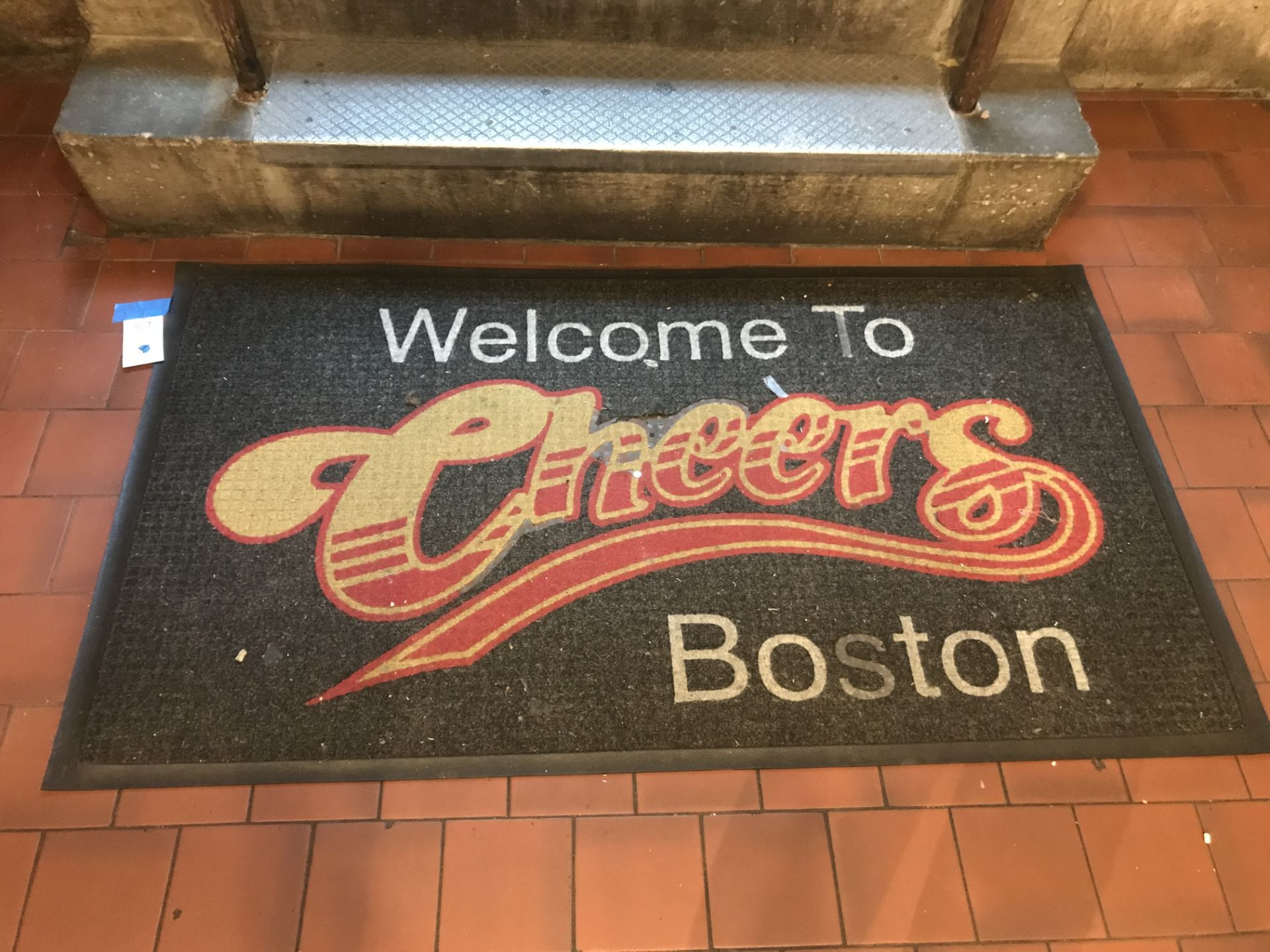 """Lot 57 - """"WELCOME TO CHEERS"""" Carpeted Rubber Floormat - 61"""" x 34"""""""