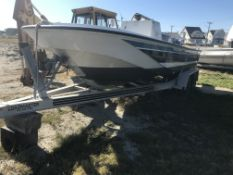Seastar 19' Former Police Boat, Fiberglass Hull, NO MOTOR, & Loadmaster Twin Axle Trailer (NO