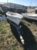 American 14' Fiberglass Sailboat with Mast & Trailer (NO TITLE)
