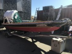 Work Skiff, Approx. 15', Johnson 25HP Tiller Outboard, Single Axle Trailer(NO TITLE)