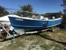 22' Center Console Fiberglass Boat with Johnson 50HP Outboard & Shoreline Single Axle Trailer