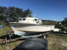 1990 Privateer 22' Lobster Boat with Jib, Hauler & Dual Axle Trailer (BOAT HAS NO MOTOR, TRAILER HAS