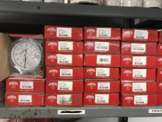 {LOT} On 1 Shelf c/o: Hand Test Gauges, Pressure Gauges, Air Pressure Gauges, Backmount Gauges, Etc.
