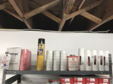 {LOT} On 1 Shelf c/o: Pink & White PTFE Tape, Sprinkler Cement, Etc.