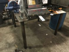 """4'x4'x32""""h Steel Fabrication Table w/ 1/2"""" Thick Top"""