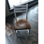 """(8) Grand Rapids Wood Seat Aluminum Frame Ladder Back Dining Chairs -- 19"""" Seat Height"""