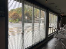 "(4) 65""L x 95"" Wood Slat Venetian Blinds"