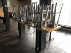 "10'L x 28""W x 42""H Heavy Duty Double Pedestal Steel Base Bar Table (Bases Bolted to Floor - Buyer is"