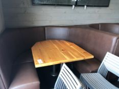 "(2) Fully Upholstered U-Shaped 7' x 6' Booths w/Double Pedestal Wood Top 40"" x 51"" Tables"