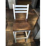 "(12) Grand Rapids Wood Seat Aluminum Frame Ladder Back Stools 30"" Seat Height"