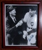 "Cy Young and Bob Feller Wood Framed Photo, Signed ""Bob Feller"" , 9""x11"""