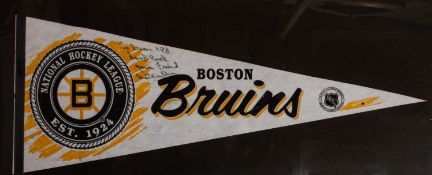 "Boston Bruins Pennant Signed ""To Brian and Ed, Goodluck, Your friend Bobby Orr"", Framed 35""x18"""