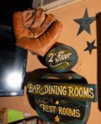 "3d All Wood Sign ""2nd Bars Dining Rooms Restrooms"" 15"" x 15"""