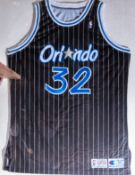 "Shaquille O'Neal #32, Magic 1992-193 Game Worn Jersey Wood Framed, 40""x32"""