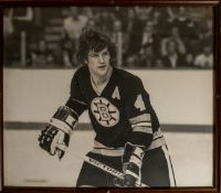 """Bobby Orr by Trudy Hall Swanson Framed Photo 29""""x26"""" (Cracked Glass)"""