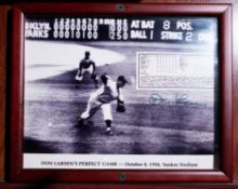 """Perfect Game Don Larson Wood Framed Photo, Signed """"Don Larson"""", 11""""x9"""""""
