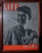 "Ted Williams Life Magazine, Wood Framed, Signed ""To Jack, Best, Ted Williams"", 14""x11"""