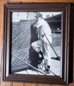 "Wood Framed Ted Williams Picture, 12""x10"""