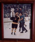 "John Bucyk Wood Framed Photo, Signed ""John Bucyk #9"", 9""x11"""