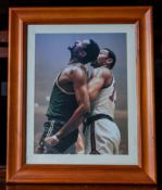 "Bill Russell and Wilt Chamberlain Wood Framed Photo, 10""x12"""