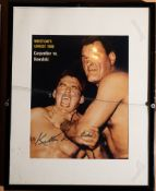 """Killer Kowalski Framed Photo Signed """"Killer Kowalski"""" 12""""x15"""" Broken Glass"""