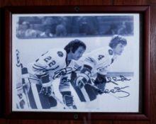 """Bobby Orr and Brad Park Wood Framed Photo, Signed """"Brad Park #22, Best Of Luck Bobby Orr"""", 9""""x12"""""""