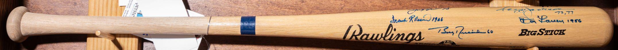 Autographed Rawlings Adirondack Wood Baseball Bat Signed By Various World Series MVP Winners