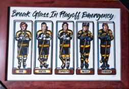"Bruins ""Break Glass In Playoff Emergency"" Caricature Framed and Numbered 6/400 19""x13"""