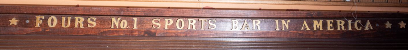 Fours No. 1 Sports Bar in America Wood Sign, Approx. 54""