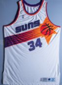 "Charles Barkley #34 Suns 1992-93 Game Worn Champion Jersey, Wood Framed, 40""x32"""