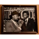 "Marvin Hagler vs, Thomas Hearns Bout Photo, Wood Framed 15""x12"""