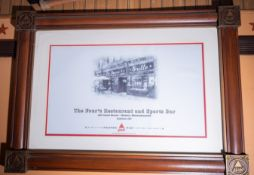 Fours Restaurant Sports Bar Picture, wood frame, 27x38""
