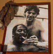 "Luis Tiante and Carlton Fiske Photo, Wood Framed 22""x20"