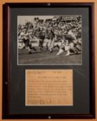 "Tufts Vs Brown 1943 In Game Framed Photo w/ AP Blurb 11.5""x15"""