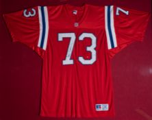 """John Hannah Patriots #73 Framed Signed Football Jersey Sign """"John Hannah"""" 50""""x38"""""""