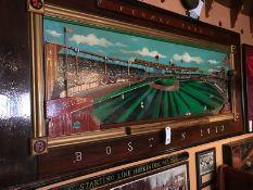 "Fenway Park 3D Original Artwork By Tom Lynch 92""x43"" w/ Baseball Mitt"