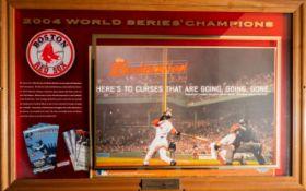 "Red Sox Budweiser 2004 World Series Shadow Box w/ Ticket Stubs 45""x29""x1"""