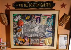 "Old Boston Garden Original Art Work By Thomas Lynch Boston Garden Shadow 51""x41""x4"" Box w/ COA"