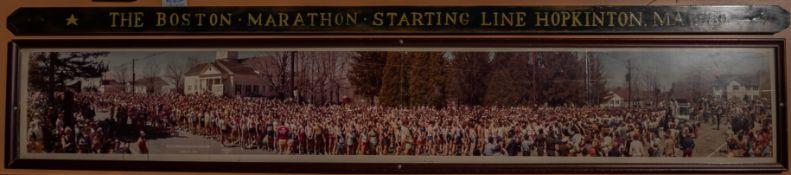 """1980 Boston Marathon Start Line Framed Photo w/ Plaque 72""""x12"""""""