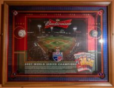 "Red Sox Budweiser 2004 and 2007 World Series Shadow Box w/ Baseball and Ticket Stubs 40""x31""x2.5"""