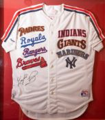 Gaylord Perry Multiple Team Framed Jersey Padres, Royals, Rangers, Braves, Indians, Giants,