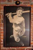"Lou Gehrig Framed Photo 23""x37"" w/ Iron Man Bat and Balls Plaque"