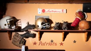 "(4) Wood Shelves with Vintage Sporting Décor C/o"" Helmets, Cleats , Mitts, Shelves, Etc."