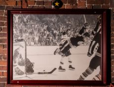"Bobby Orr Stanley Cup Winning Framed Photo 44""x33"" w/ Cooper Hockey Gloves Mounted On #4 Plaque"