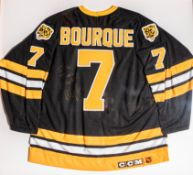 "Ray Bourque Framed Bruins #7 Signed and Framed Jersey Signed "" To The Fours all The Best Ray Bourque"