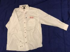 The Fours Boston Red Script Button Down Shirt X-Large