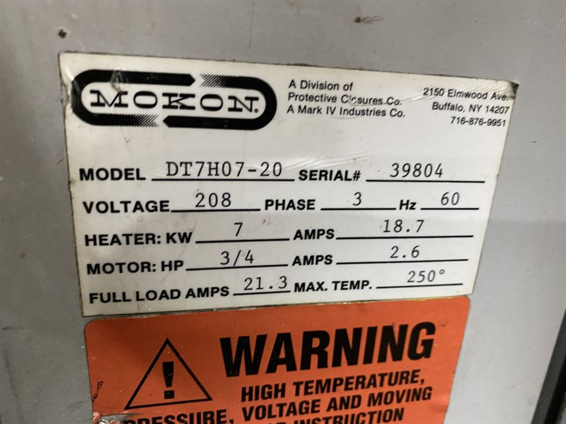 Lot 243 - Mokon DT7H07-20 Temperature Control, s/n 39804
