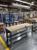 "Wood Top Work Bench w/ Light, 30"" x 72"""